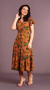 Vestido Estampado Feminino com Botões e Lastex Aline