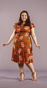 Vestido Feminino Fran  Evasê Com Cinto Plus Size