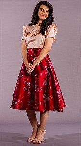 Saia Feminina Godê Mídi Vermelha Valentina