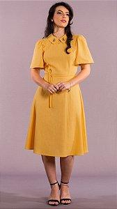 Vestido Ester Feminino Mídi Amarelo com Gola Bordada