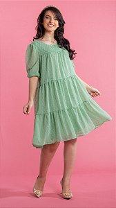 Vestido Feminino Chifon de Poá  Forrado Melissa Verde