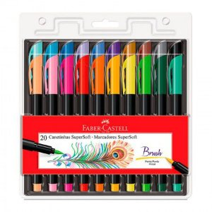 Caneta Brush Pen Supersoft 20 cores Faber-Castell