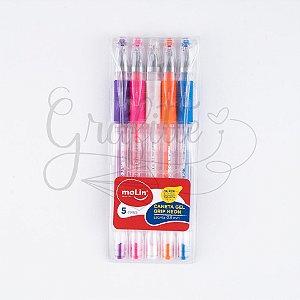 Caneta Gel Grip Neon c/5 Molin