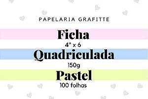 Ficha Quadriculada Pastel 4x6 100 folhas