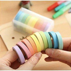 Washi Tape Box Pastel Estreita 12 un.