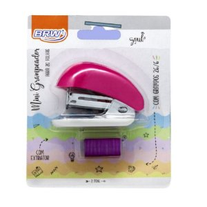 Grampeador Mini Pink p/20 folhas BRW GP0105