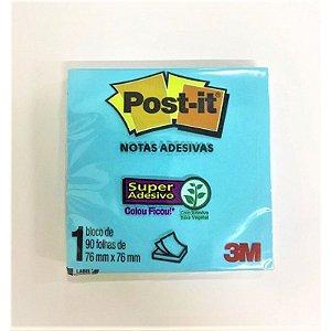 Bloco Adesivo Post-it 654 Azul Eletric 76x76mm 90 Folhas