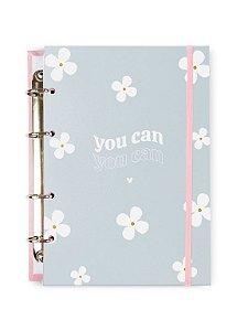 Caderno Argolado Colegial Azul Flores 100 folhas