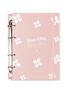 Caderno Argolado Colegial Rosa Flores 100 folhas