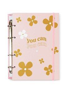 Caderno Argolado Colegial Rosa Florzonas 100 folhas