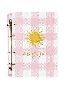 Caderno Argolado Colegial Rosa Sunshine 100 folhas