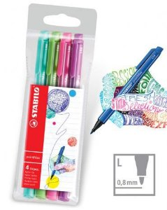 Kit Canetas Stabilo PointMax Color 0.8mm Estojo com 4 cores