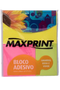 Bloco Adesivo Neon Maxprint - 3 cores com 150 folhas
