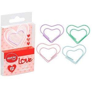Clips Coração Pastel Molin 12 unidades