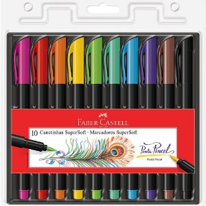 Caneta Brush Pen Supersoft 10 cores Faber-Castell