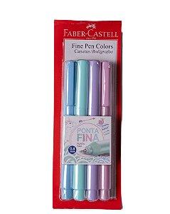 Caneta Fine Pen Pastel 04mm Faber-Castell c/4 cores