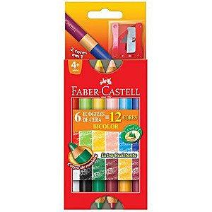Lápis Giz de Cera Bicolor 12 Cores em 6  + Apontador Faber Castell