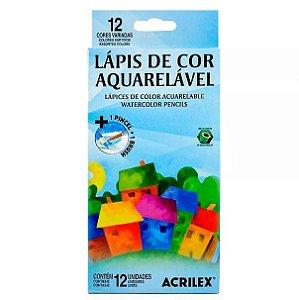 Lápis de Cor Aquarelável Acrilex 12 Cores