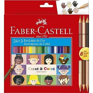 Lápis de Cor Faber-Castell Caras E Cores 24 Cores + 6 Tons de Pele