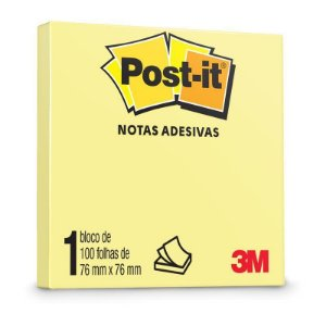 Bloco Adesivo Post-it 654 Amarelo 76x76mm 100 Folhas
