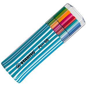 Caneta Stabilo Point 68 estojo com 15 cores 6815-01 Azul