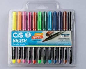 Caneta Brush Pen Cis Aquarelável c/ 12 cores