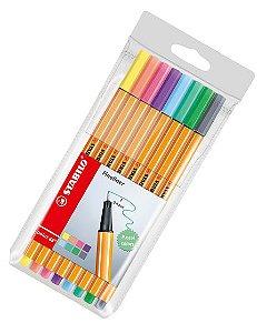 Caneta Stabilo Point 88 Estojo com 8 Cores Pastel 88/8-01