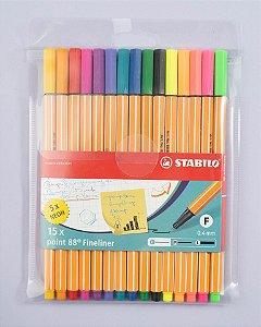 Caneta Stabilo Point 88 estojo com 15 cores 8815-1