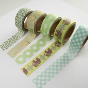 Kit Washi Tape Green c/5