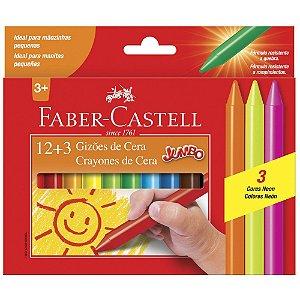 Giz de Cera 15 cores gizão faber-castell