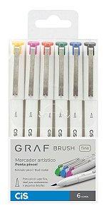 Caneta Cis Graf Brush Fine Ponta Pincel estojo com 6 cores
