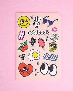 Caderno Bocas e Olhos Pautado Capa Forte 32 folhas