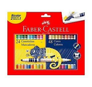 Caneta Hidrocor Faber-Castell Bicolor 24 canetinhas = 48 cores
