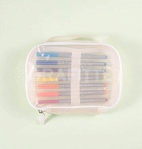 Estojo Box Branco Transparente Kit