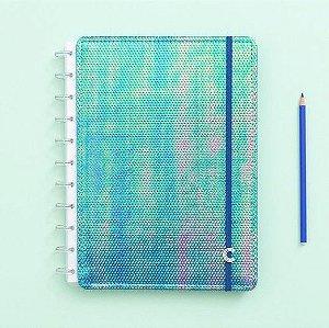 Caderno Inteligente Grande Azul Holográfico 80 Folhas