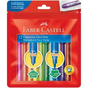 Caneta Hidrocor Faber-Castell Vai e Vem 12 cores