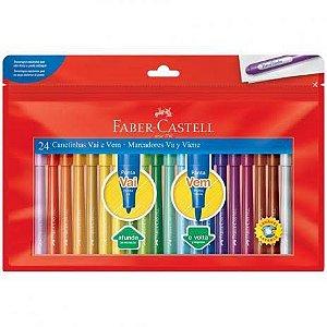 Caneta Hidrocor Faber-Castell Vai e Vem 24 cores
