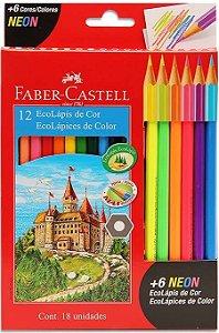 Lápis de Cor Faber-Castell 12 Cores + 6 cores Neon