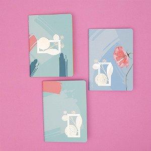 Conjunto com 3 Journals sem pauta coloridos La Bela