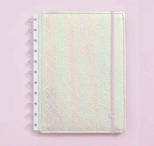 Caderno Inteligente Grande Rosa Holográfico 80 Folhas