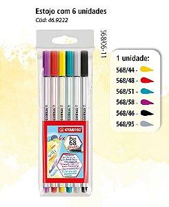 Caneta Brush Stabilo Pen 68 Estojo com 6 cores