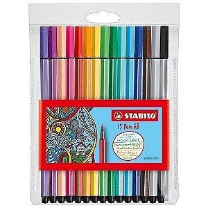Estojo Caneta Stabilo Pen 68 com 15 cores