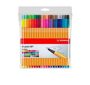 Estojo Caneta Stabilo Point 88 com 40 cores