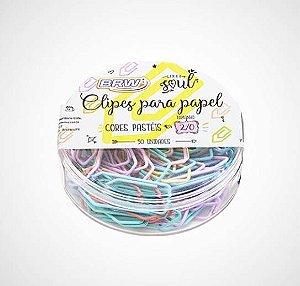 Clips para papel cores pastéis 2/0 BRW 50un