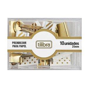 Prendedor de Papel 25mm Dourado cx c/10 Tilibra