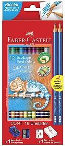 Lápis de cor Faber-Castell Bicolor 12 Lápis 24 Cores