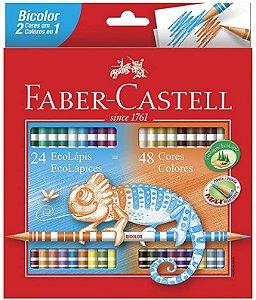 Lápis de Cor Faber-Castell Bicolor 24 lápis 48 cores