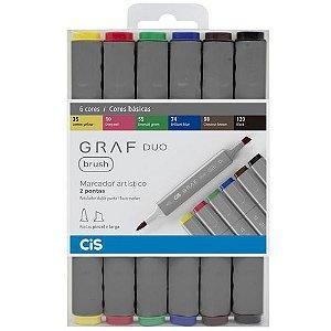 Marcador Artístico Graf Duo Brush 6 Cores Cis