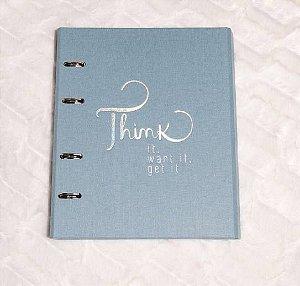 Caderno Argolado Fichário Cotton Azul 9002-9 Ótima Gráfica