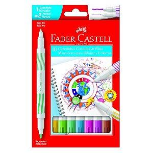 Canetinha Hidrocor Ponta Dupla 10 Cores Faber-Castell
